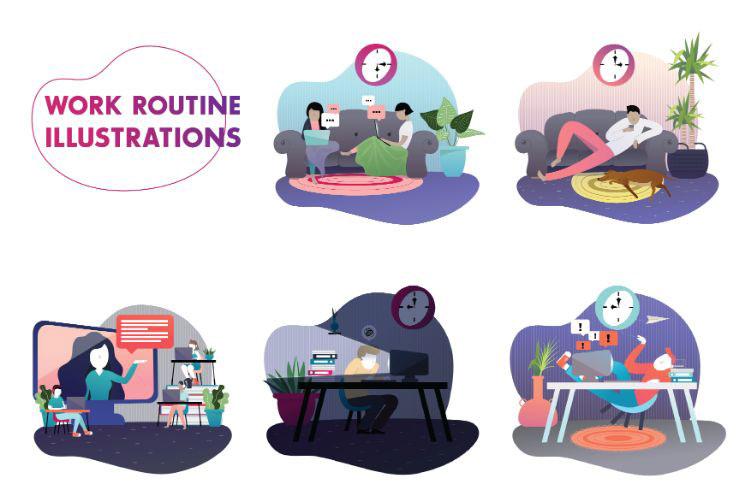 Work Routine - Set of Illustrations